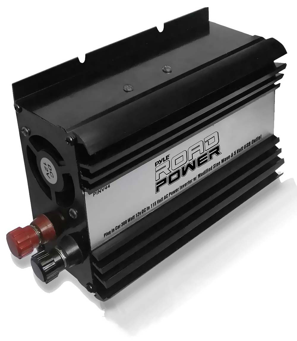 Pyle PINV44 Plug In Car 300 Watt 12V DC to 115 Volt AC Power Inverter with Modified Sine Wave and 5 Volt USB Outlet