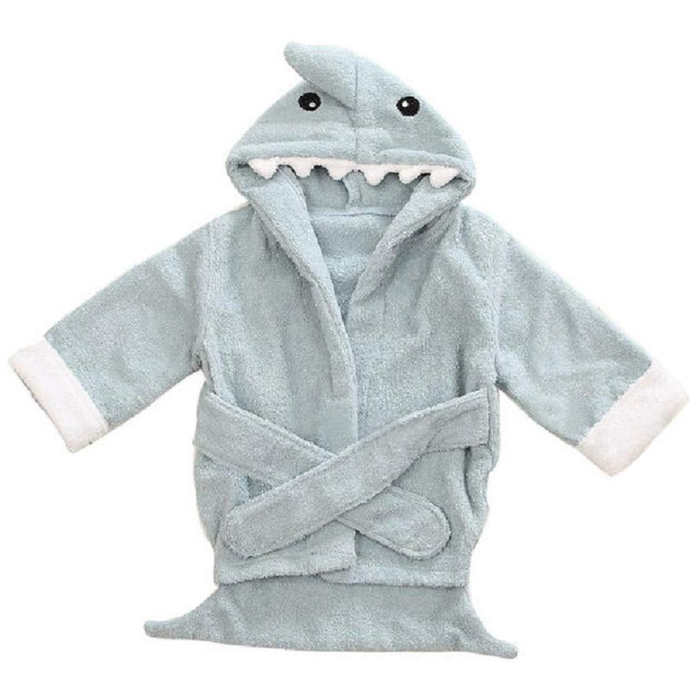 Hooyi Baby Blue Shark Bathrobe Bath Towels Newborn Blanket Bedding Swaddle (Blue, 0-1year)