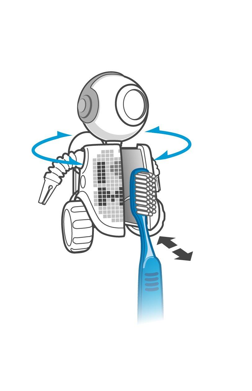 FLIPPER 11034 Big Eye Robot Be Me - Soporte de cepillo de dientes (8 cm, fijación por ventosa), diseño de robot de color blanco: Amazon.es: Hogar