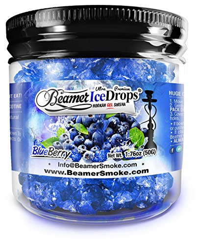 BlueBerry 50G Ultra Premium Beamer Ice Drops Hookah Shisha Smoking Gel. Each bowl lasts 2-4 Hours! USA Made, Huge Clouds, Amazing Taste! Better Taste & Clouds than Tobacco!