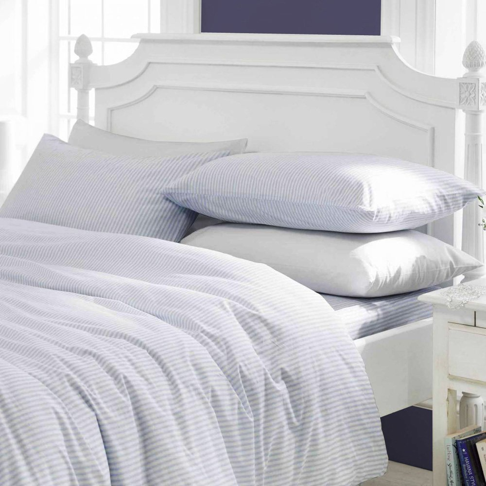 AMERICA EMPORIUM Soft & Comfy SPA LIKE FEEL SUPER FLUFFY Egyptian Cotton HYPOALLERGENIC Made in USA 3-Piece Duvet Cover Set 400 TC Stripe (Twin, White) by AMERICA EMPORIUM
