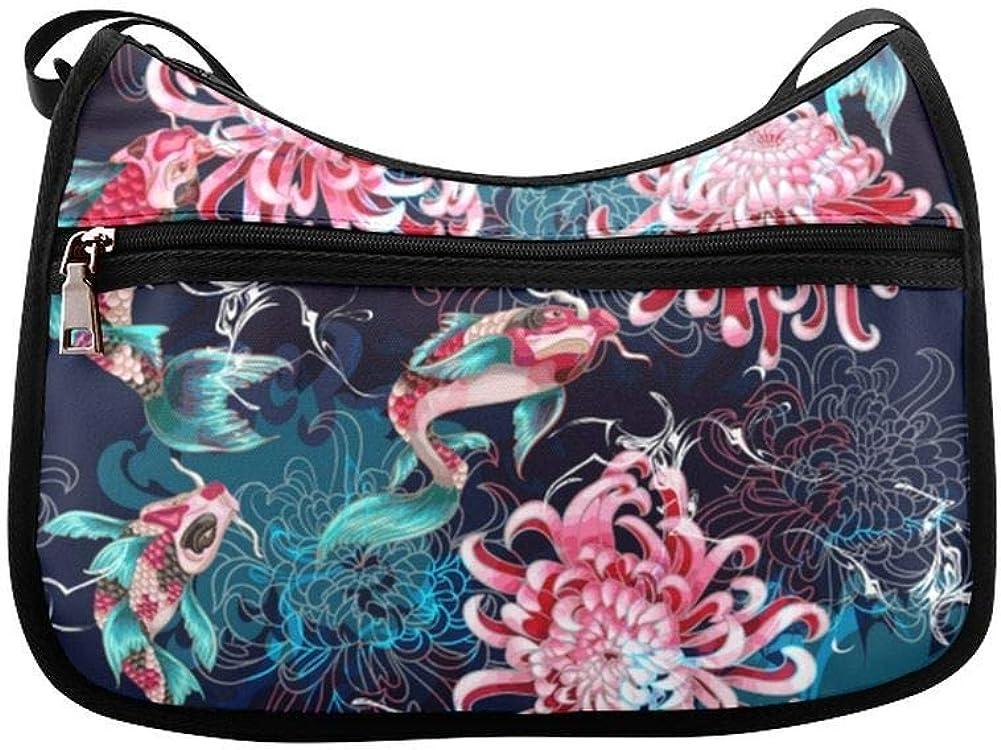 Different Beautiful Chrysanthemum Messenger Bag Crossbody Bag Large Durable Shoulder School Or Business Bag Oxford Fabric For Mens Womens
