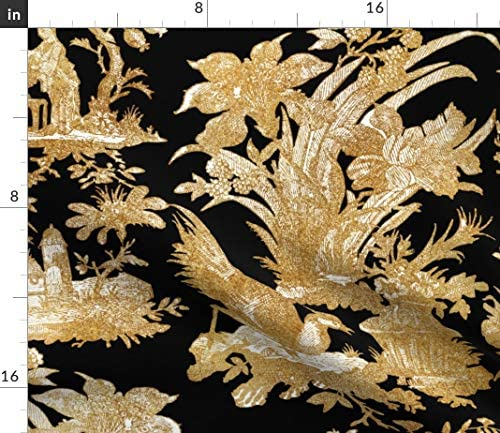 Toile Chinoiserie Asian Gold Black Cotton Dinner Napkins by Roostery Set of 2