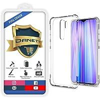 """Kit Capa E Película Para Xiaomi Redmi Note 8 Pro Tela De 6.53"""" Polegadas Capinha Case Transparente Air Anti Impacto e Película De Vidro Temperado 3d - Danet"""