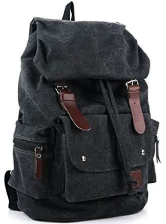 Amazon.com | AM Landen Canvas Backpack High School Backpack Travel ...