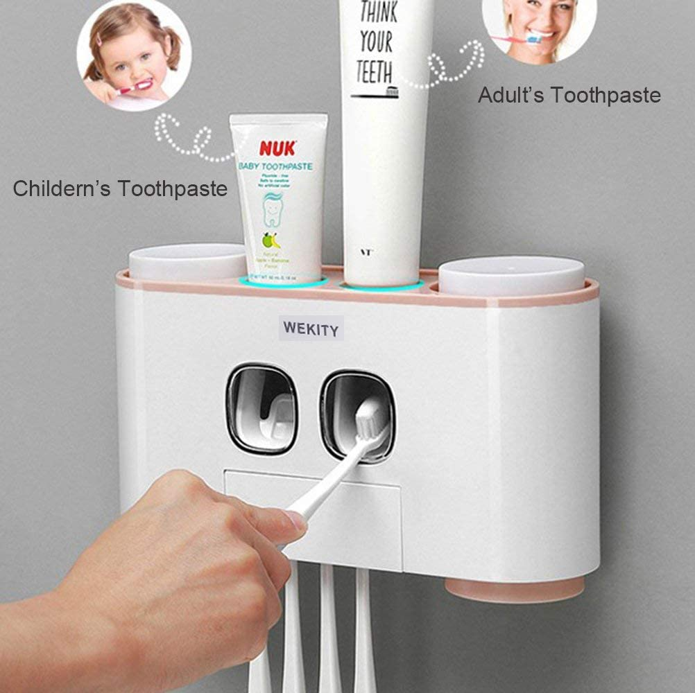 Pink 2 Automatic Toothpaste Dispenser and 4 Cups Toothbrush Holder Wekity Multifunctional Wall-Mounted Space-saving Toothbrush and toothpaste squeezer Kit with Dustproof Cover 5 Toothbrush Slots