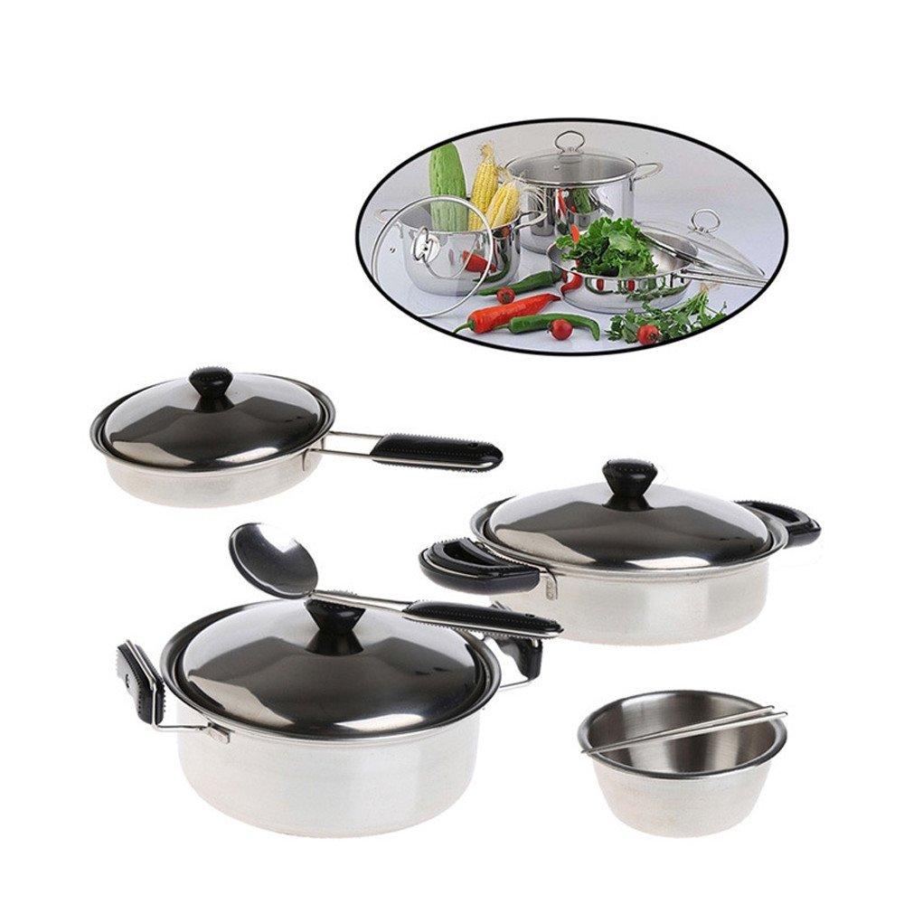 Cocina de Fisher-Price juguetes, a 20pcs acero inoxidable ollas sartenes utensilios de cocina en miniatura juguete pretend Play regalo para Kid, Infantil, ...
