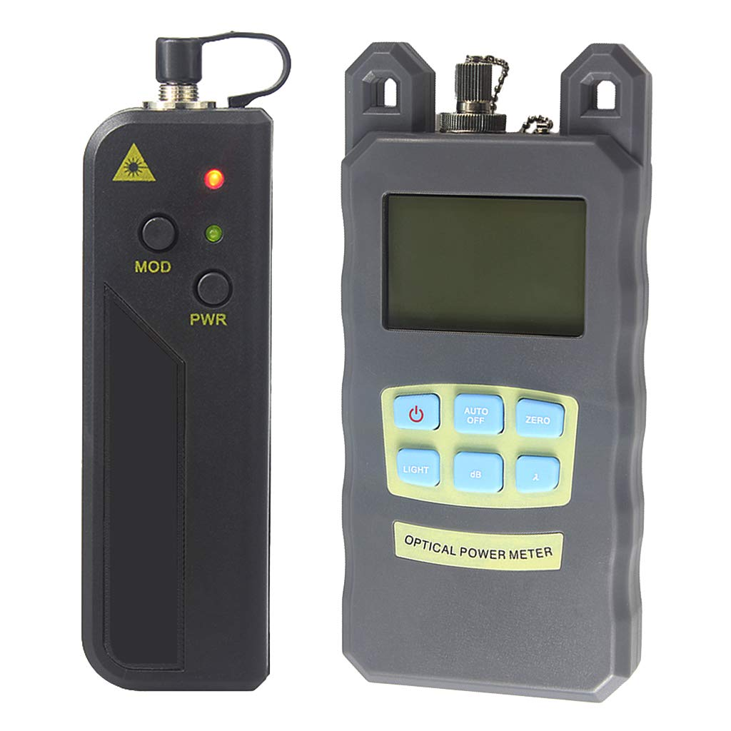 SM SunniMix A Set -70dBm~+10dBm 850~1625nm Optical Power Meter Tester FC SC Handheld Optical Power Meter + 10mW Visual Fault Locator Pen Black
