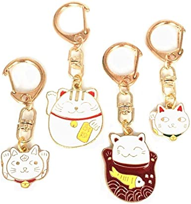 Chinese Style Lucky Fortune Cat Key Chain Hanging Key Rings Pendants Accessories