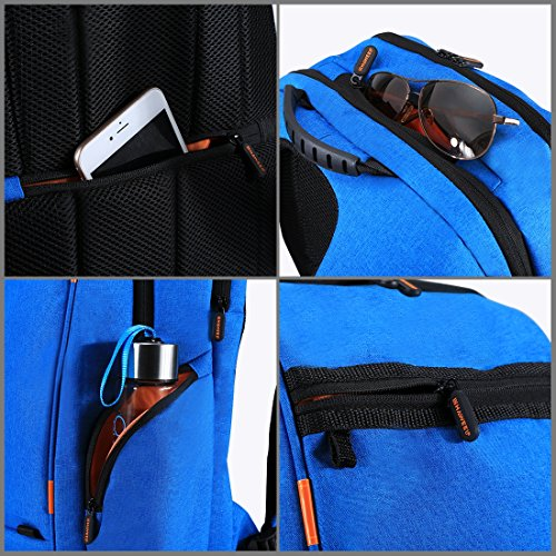 HAWEEL Outdoor Multi-function Solar Panel Power Breathable Casual Backpack Laptop Bag School Bookbag for College Travel Backpack, With USB Charging Port & Earphone Port (Blue) by HAWEEL (Image #5)