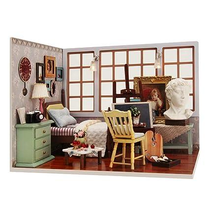 Casa de muñecas DIY Casa de muñecas en miniatura con muebles ...