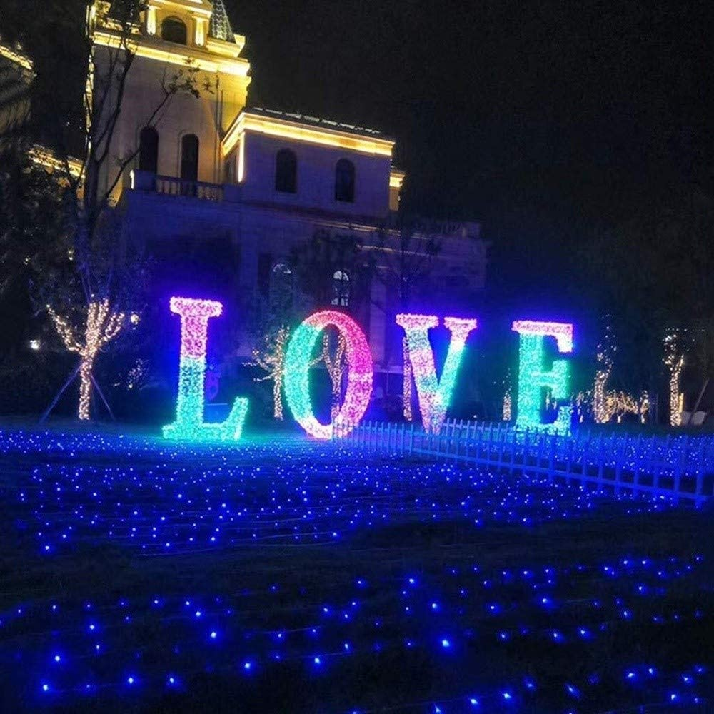 LED Lichtervorhang Lichter Outdoor-Schnur-Licht-LED, 800 LED-100M 328ft String Lichterketten Plug In, Innen Lichterketten For Weihnachtsbaum-Partei-Hochzeit Veranstaltungen Garten (8 Beleuchtungsart, Blue-100m*800leds