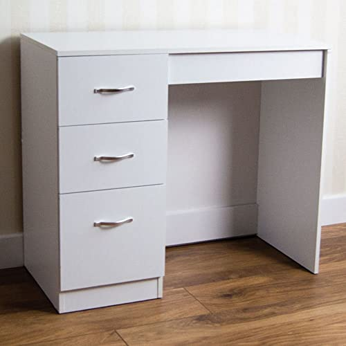 Incroyable Home Discount White 3 Drawer Dressing Table Makeup Desk Riano Bedroom  Furniture