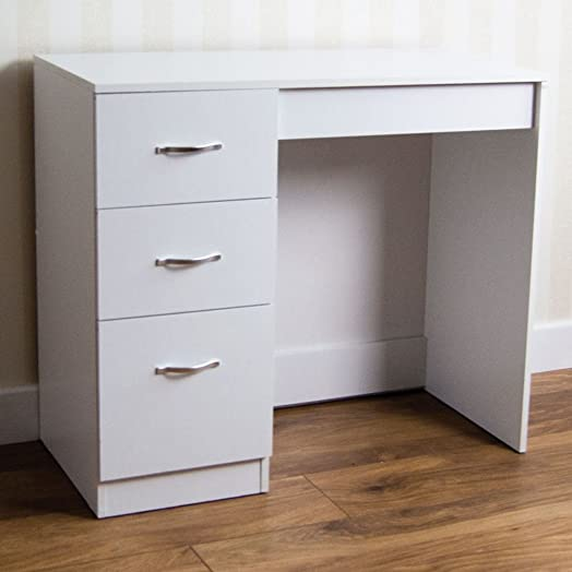 Home Discount White 3 Drawer Dressing Table Makeup Desk Riano ...