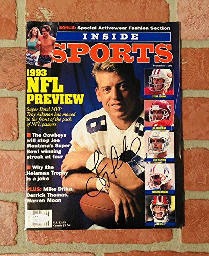 Troy Aikman autographed signed Inside Sports Magazine NFL Dallas Cowboys - Paypal Return Shipping