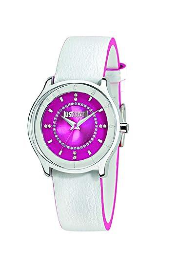 Just Cavalli R7251587502 - Reloj analógico de cuarzo para mujer, correa de cuero color blanco