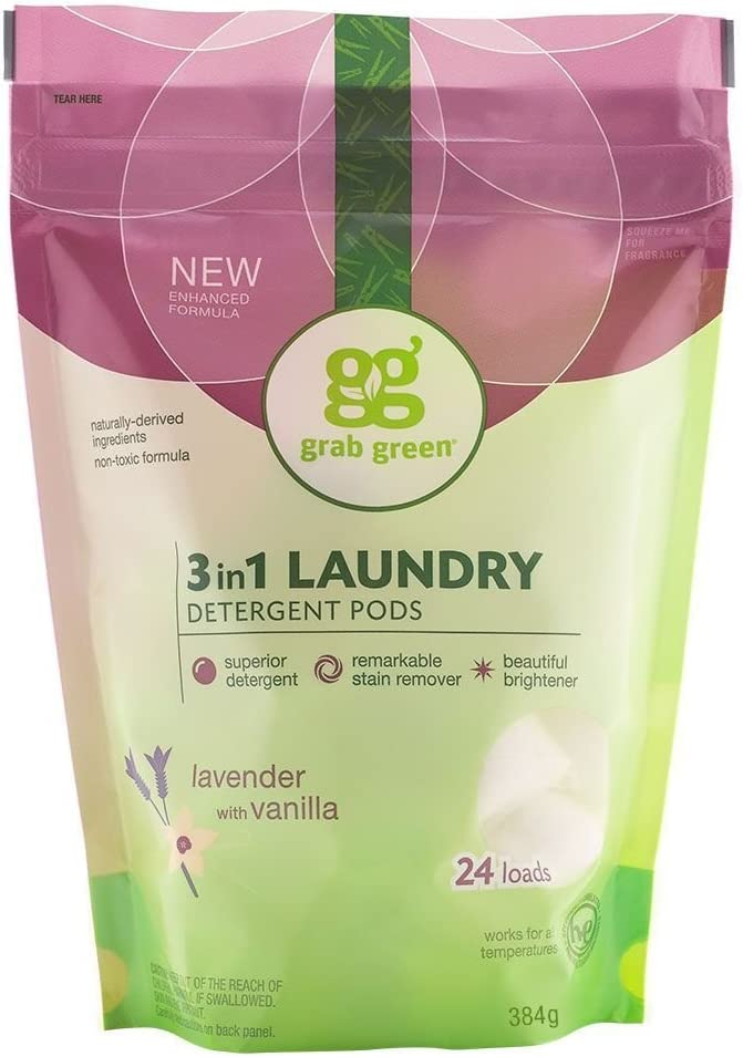 Grab Green Natural 3 in 1 Laundry Detergent Pods, Organic Enzyme-Powered, Plant & Mineral-Based, Lavender + Vanilla—with Essential Oils, 24 Loads (6 Pack)