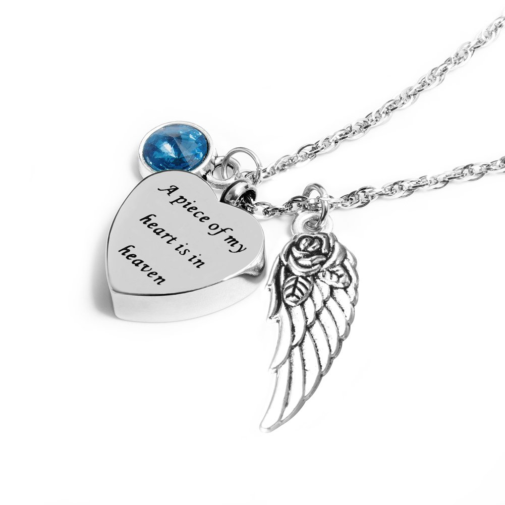 IMEIM A Piece of My Heart is in Heaven Urn Necklace for Women Cremation Jewelry Memorial Necklace for Human Ashes (3-Mar)