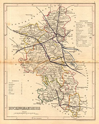 Buckinghamshire Light (BUCKINGHAMSHIRE county map. ARCHER & DUGDALE. Seats canals polling places - 1845 - old map - antique map - vintage map - printed maps of Buckinghamshire)