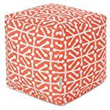 Majestic Home Goods Orange Aruba Indoor/Outdoor Bean Bag Ottoman Pouf Cube 17'' L x 17'' W x 17'' H