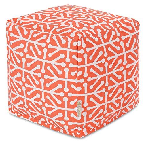 - Majestic Home Goods Orange Aruba Indoor/Outdoor Bean Bag Ottoman Pouf Cube 17