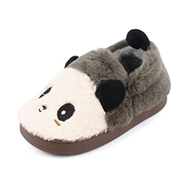 094feadc71d Childrens Girls Boys 3D Novelty Animal Character Plush Slippers Kids Booties  Panda Shoes Brown Size UK