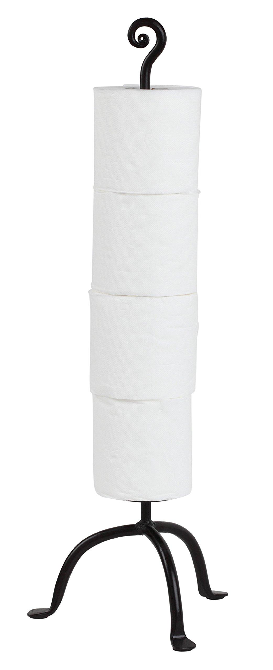RTZEN Wrought Iron Swirl 4 Rolls Storage Toilet Paper Stand | Free Standing TP | Handcrafted Décor