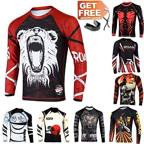 Lions Training Shirt - Roar Long Sleeve MMA Rash Guard UFC Cage Fight BJJ Wear No Gi Training Shirts (Lion, Small)