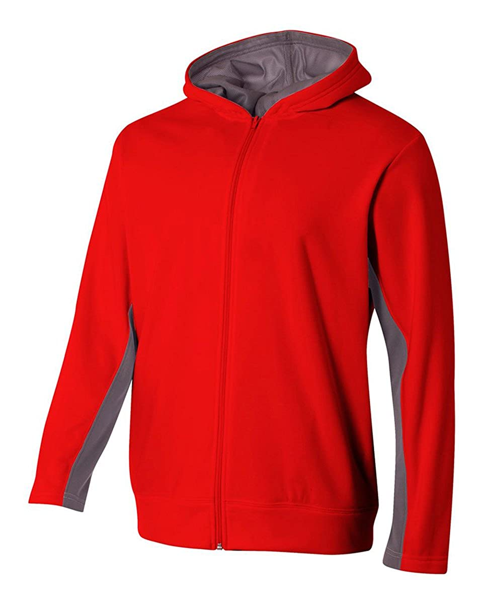 Scarlet//Graphite A4 Boys Full Zip Color Block Fleece Hoodie Small