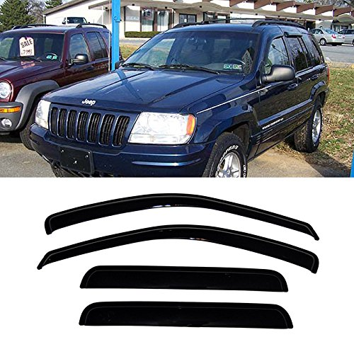 Audrfi 4pcs Window Visors Sun/Rain Guard for 99-04 Jeep Grand Cherokee WJ Smoke Side Wind Deflectors Vent Visor