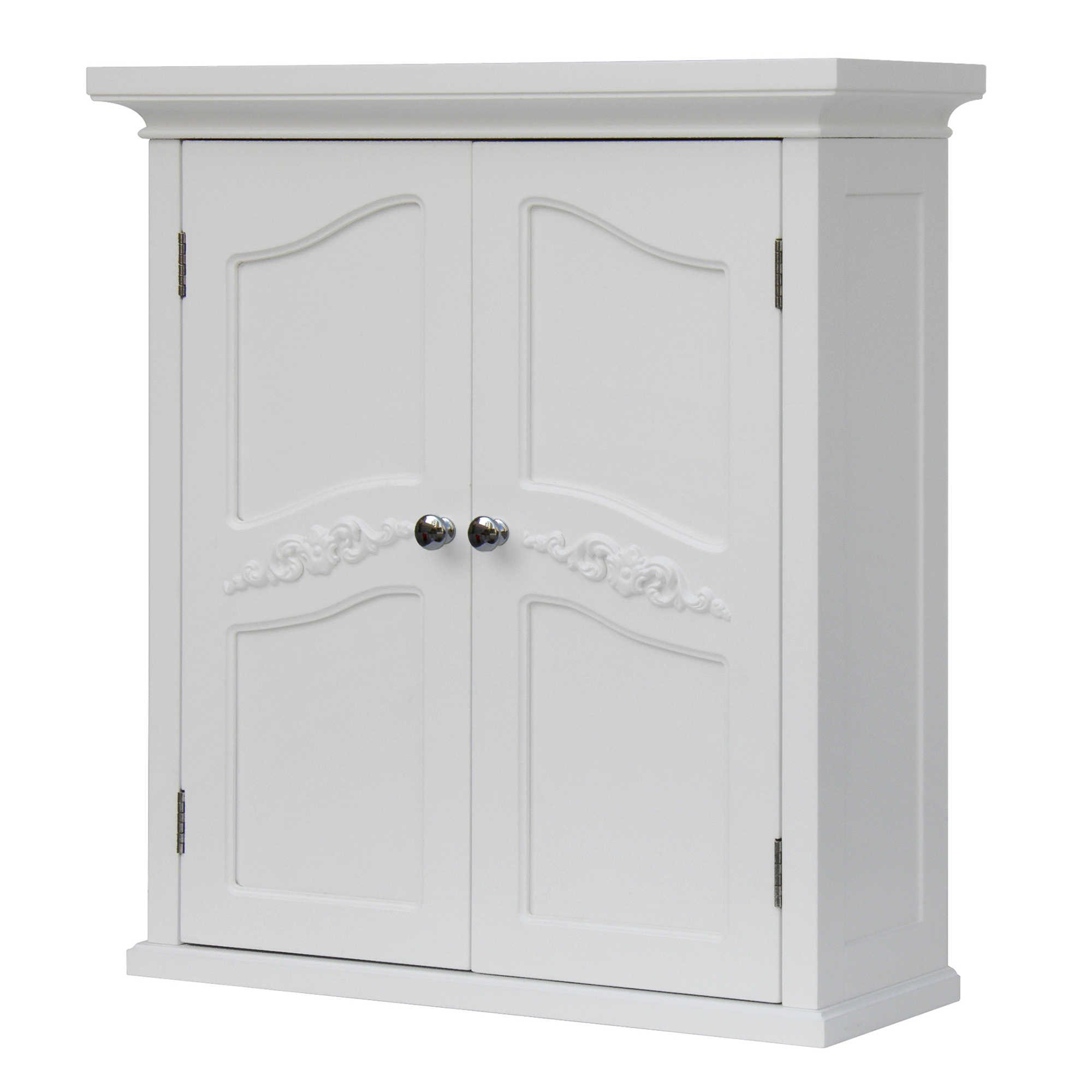 Elegant Home Fashions Collection Elegant Styling 2-Door Wall Cabinet in White, Features Interior Adjustable Shelves