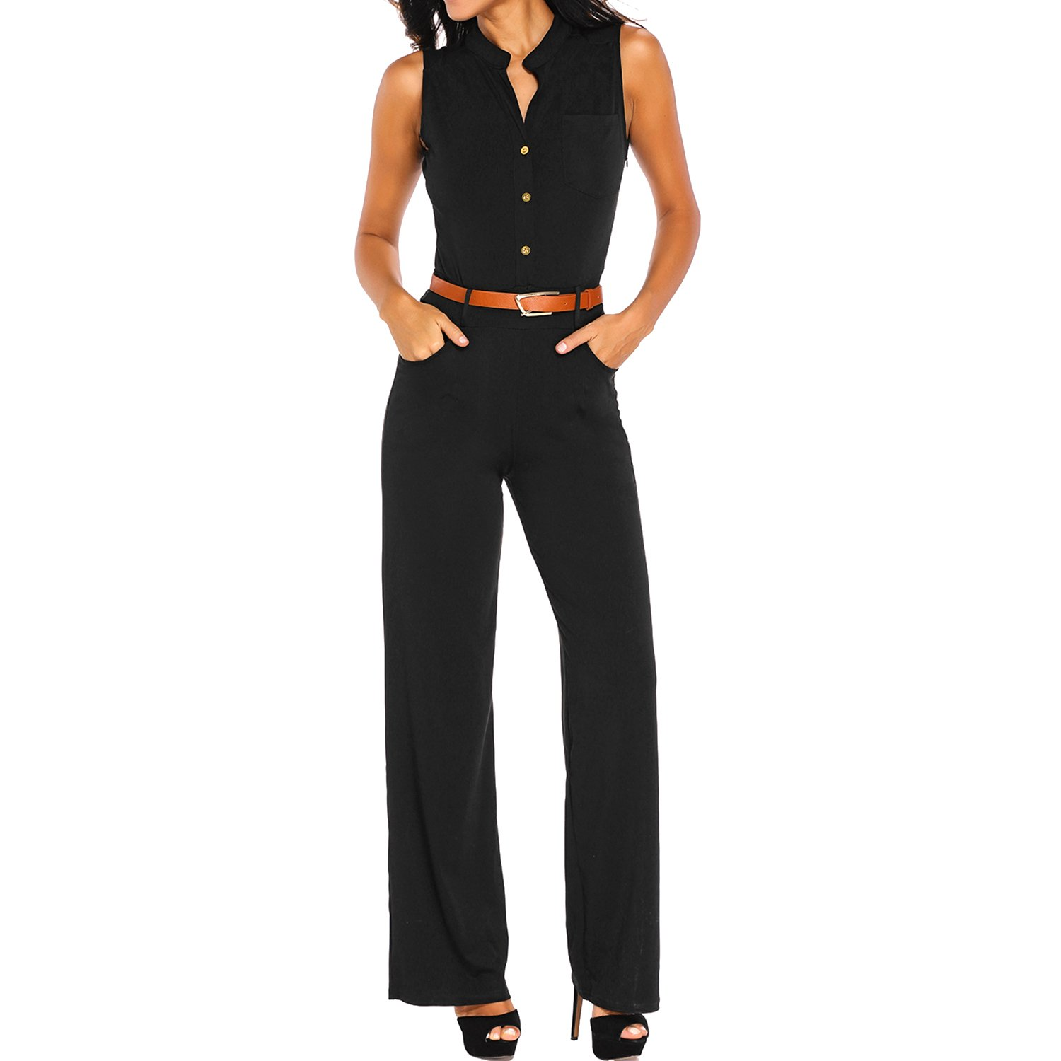 878434025d8c Luxspire Women s Loose Wide-legged Palazzo Pants One Piece Sleeveless Waist  Belted Jumpsuit