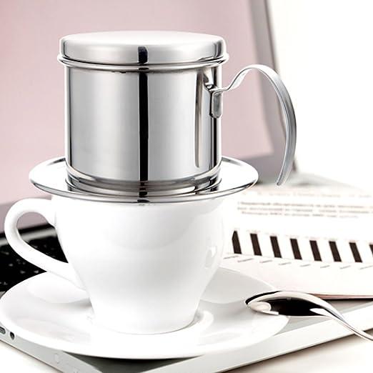 Acero Inoxidable Café Vietnamita Cae la Cafetera de Pote Infusión Filtros de Goteo Reutilizable sin Papel Vierta el Café de la Olla Para la Oficina del ...