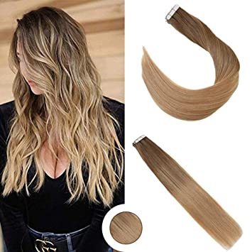 Ugeat 22 inch Balayage Hair Extensions Tape in Light Brown mix with Golden  Blonde Human Hair Tape in