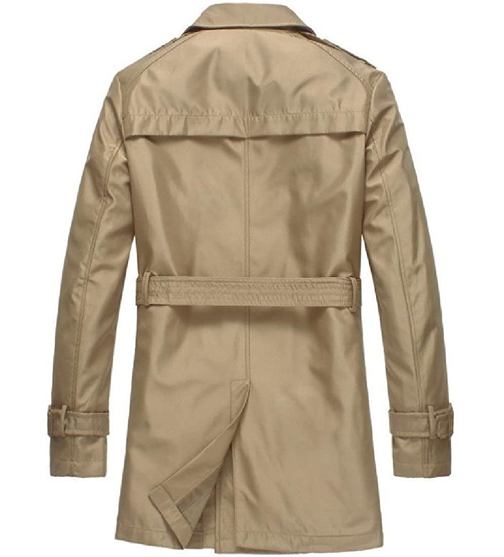 Abetteric Men Utility Longline Double-Breasted Trench Coat with Belt