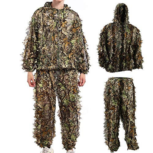 Hunting Camo Clothes Sniper Ghillie Suit Halloween Cosplay Costume Woodland 3D Leaf Hunting for $<!--$26.99-->