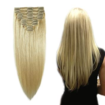 Amazon Com Double Weft 100 Remy Human Hair Extensions Clip In