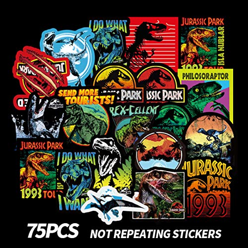 Meet Holiday Jurassic Park Dinosaur Sticker 75 PCS PVC Waterproof Stickers for Laptop, Notebooks, Car, Bicycle, Skateboards, Luggage Decoration (Jurassic Park) (Jurassic Park Car)