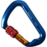30KN Rock Climbing Carabiner,Likorlove D-shaped Locking Screwgate Carabiner Hot-forged Magnalium Climber for Hiking/Travel/Mountaineer Karabiner-CE Eertified