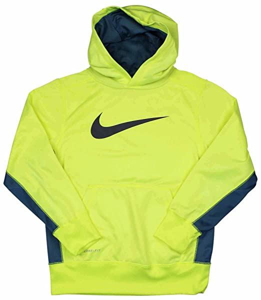 Boy's Nike KO 2.0 Pullover Training Hoodie Volt/Grey Size Small