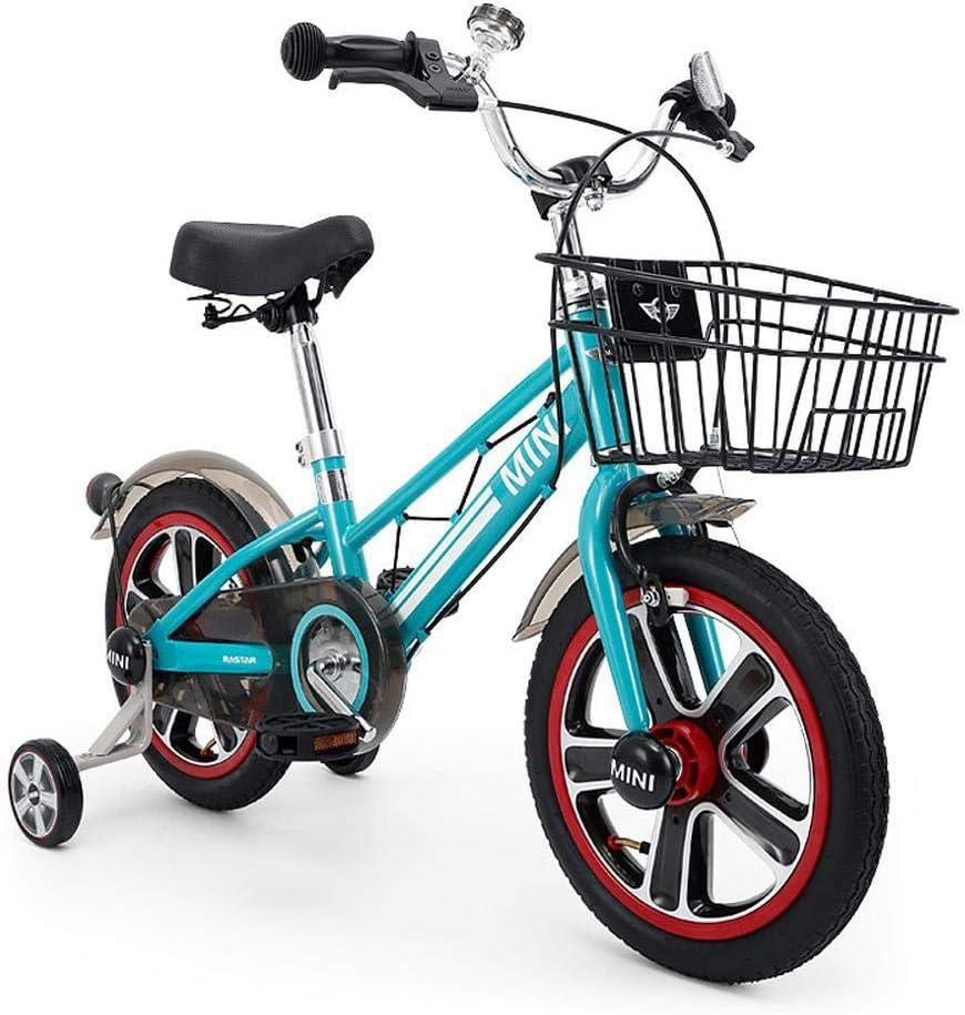 XiangYu Bicicleta para Niños, Material de Aleación de Magnesio, Sistema de Freno de Disco Doble, Manillar y Silla de Montar Ajustables + Rueda Auxiliar Antideslizante Blue-14inch: Amazon.es: Deportes y aire libre