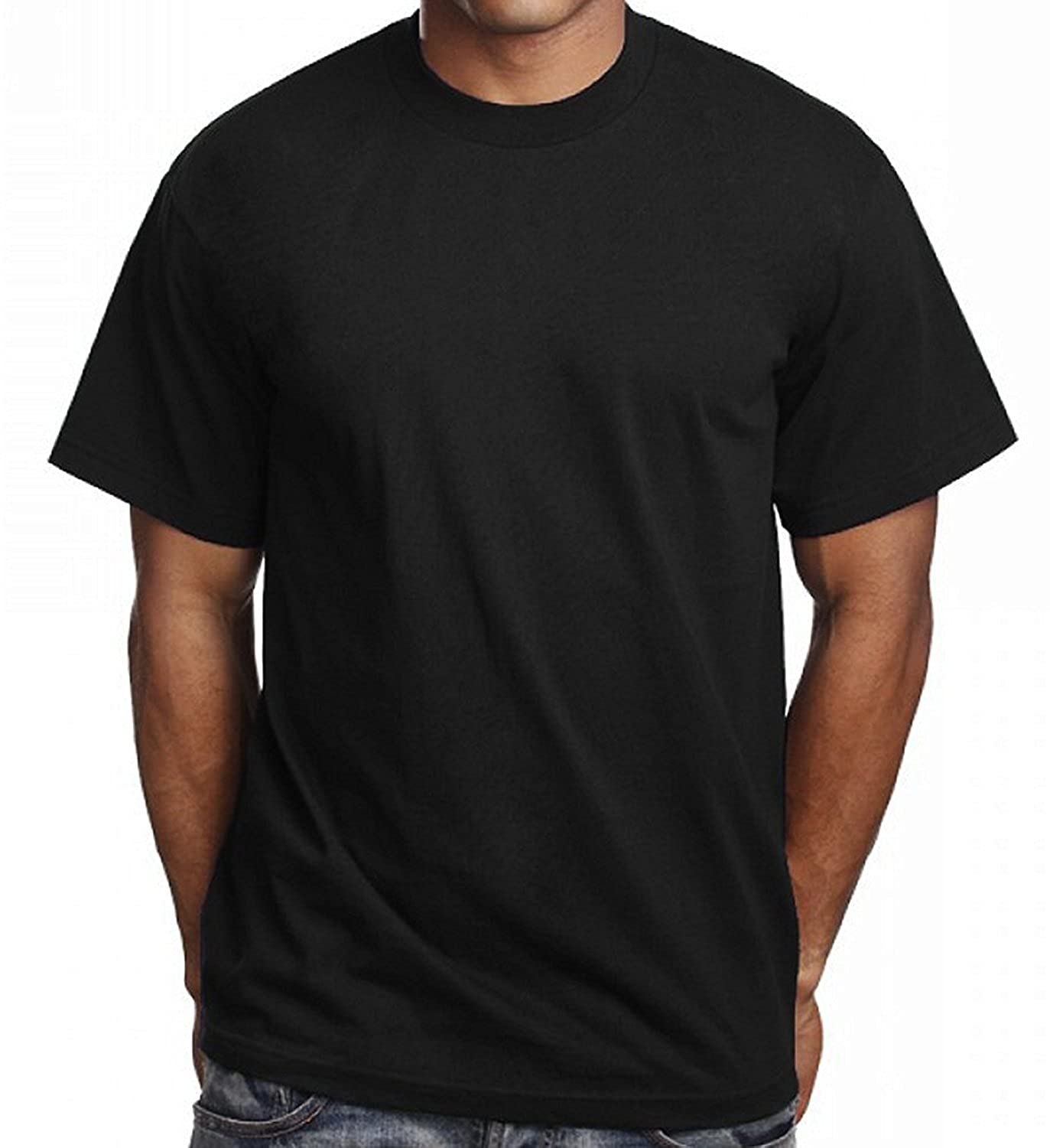 152dffaa8 6 Pack Men's Plain Black T Shirts Pro 5 Athletic Blank Tees