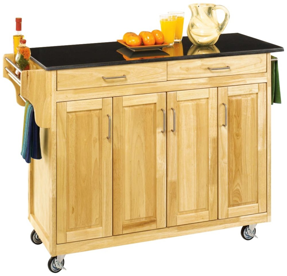 Home Styles 9200-1014 Create-a-Cart 9200 Series Cabinet Kitchen Cart with Black Granite Top - Natural Finish