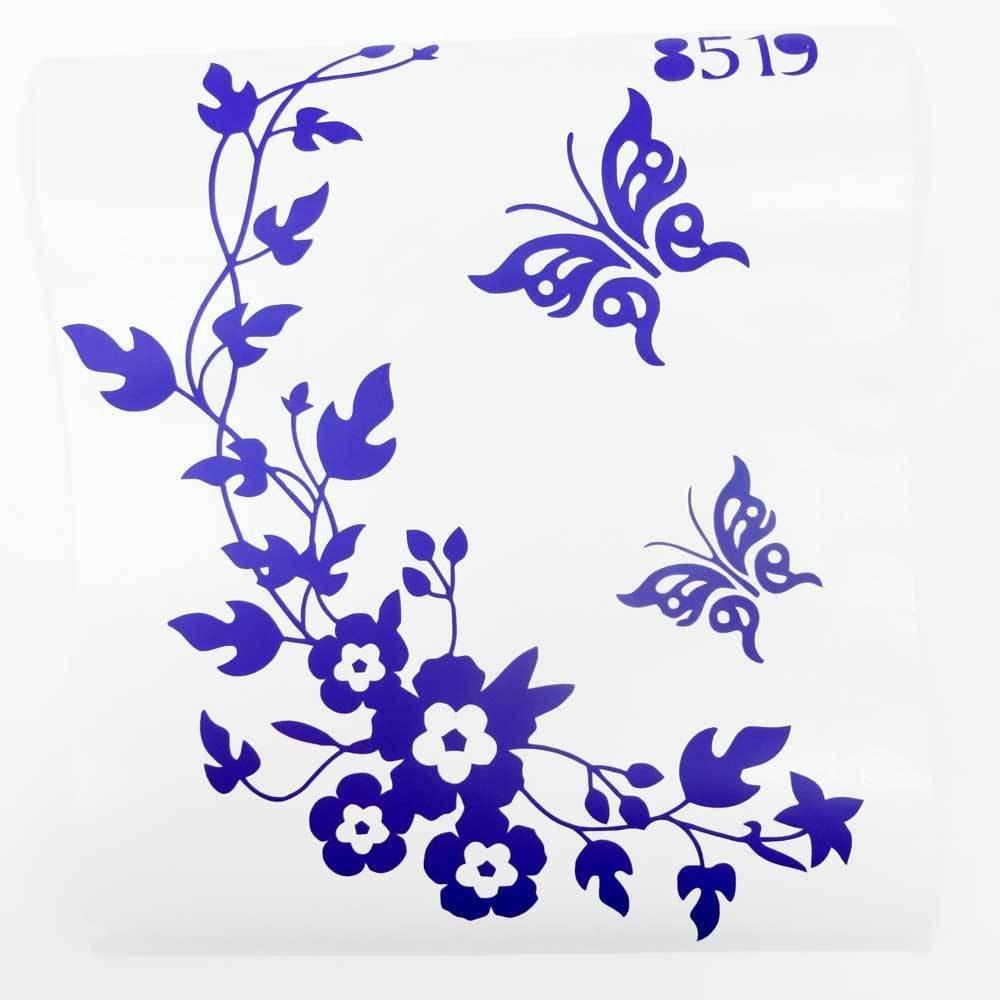 Adesivo decorazione sticker toilette tazza water bagno casa FARFALLE FIORI FUCSIA vinciann ADSTRFBFC