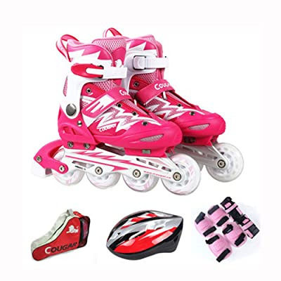 ZMCOV Inline Skate Roller Skate Blades with Adjustable Size and Flashing Light Up Wheel for Kids Boys Girls, Pink, 30~33 : Sports & Outdoors