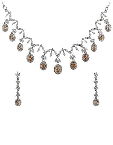0c600e1731a7b5 Image Unavailable. Image not available for. Color: Anuradha Art Gold-Silver  Tone Designer Classy Look American Diamonds Stone Necklace Set ...