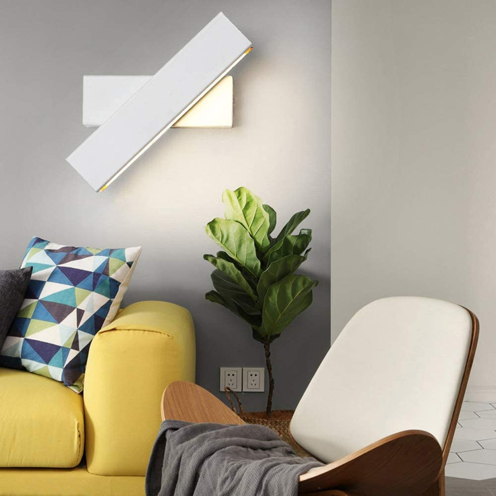 Rotatable 350/° Angle Fit for Hallway Stairs Hotels Bedside Living Room 6W Warm White, Black LED Wall Light Modern Indoor Bright Wall Sconce Lighting Fixture