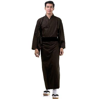 Japanese Mens Summer Kimono Yukata and OBI Belt Set of 2 XL Black