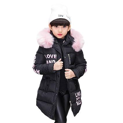 Abrigo para niña con capucha de pelo, largo, Akaufeng,