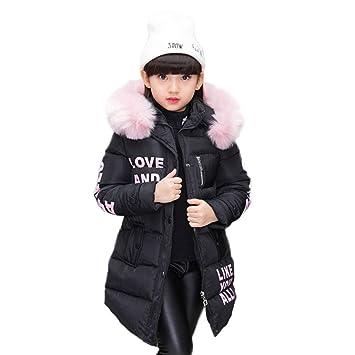 Abrigo para niña con capucha de pelo, largo, Akaufeng, chaqueta de invierno con capucha de pelos, capa exterior, chaqueta infantil: Amazon.es: Deportes y ...